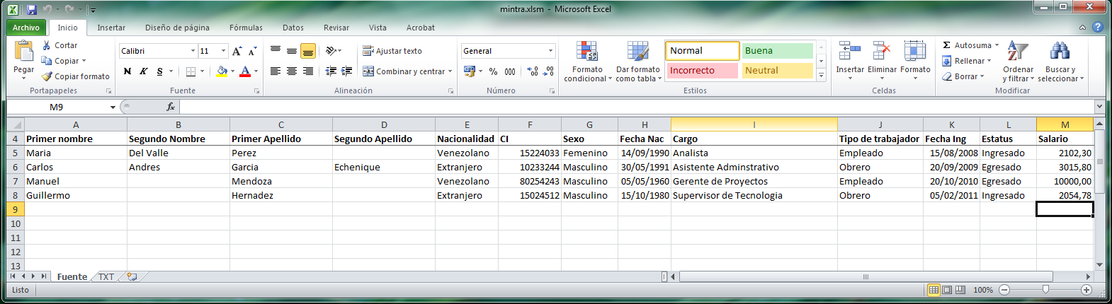Minpptrass hoja de excel para convertir a txt artifex web for Formato nomina excel